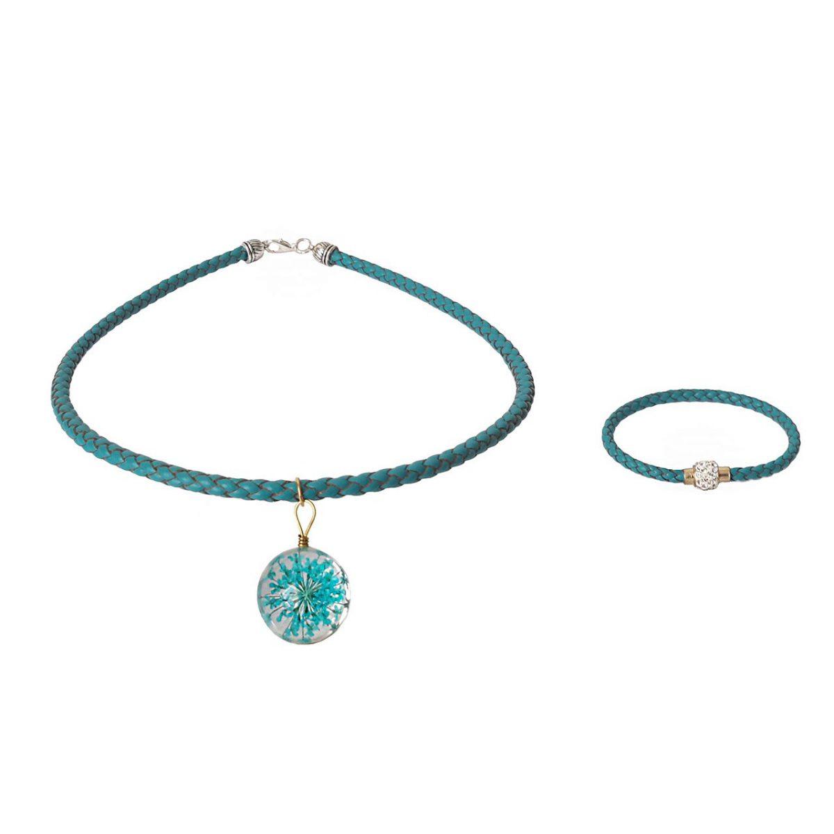 دستبند چرمی و گردنبند مانی چرم BLN-303