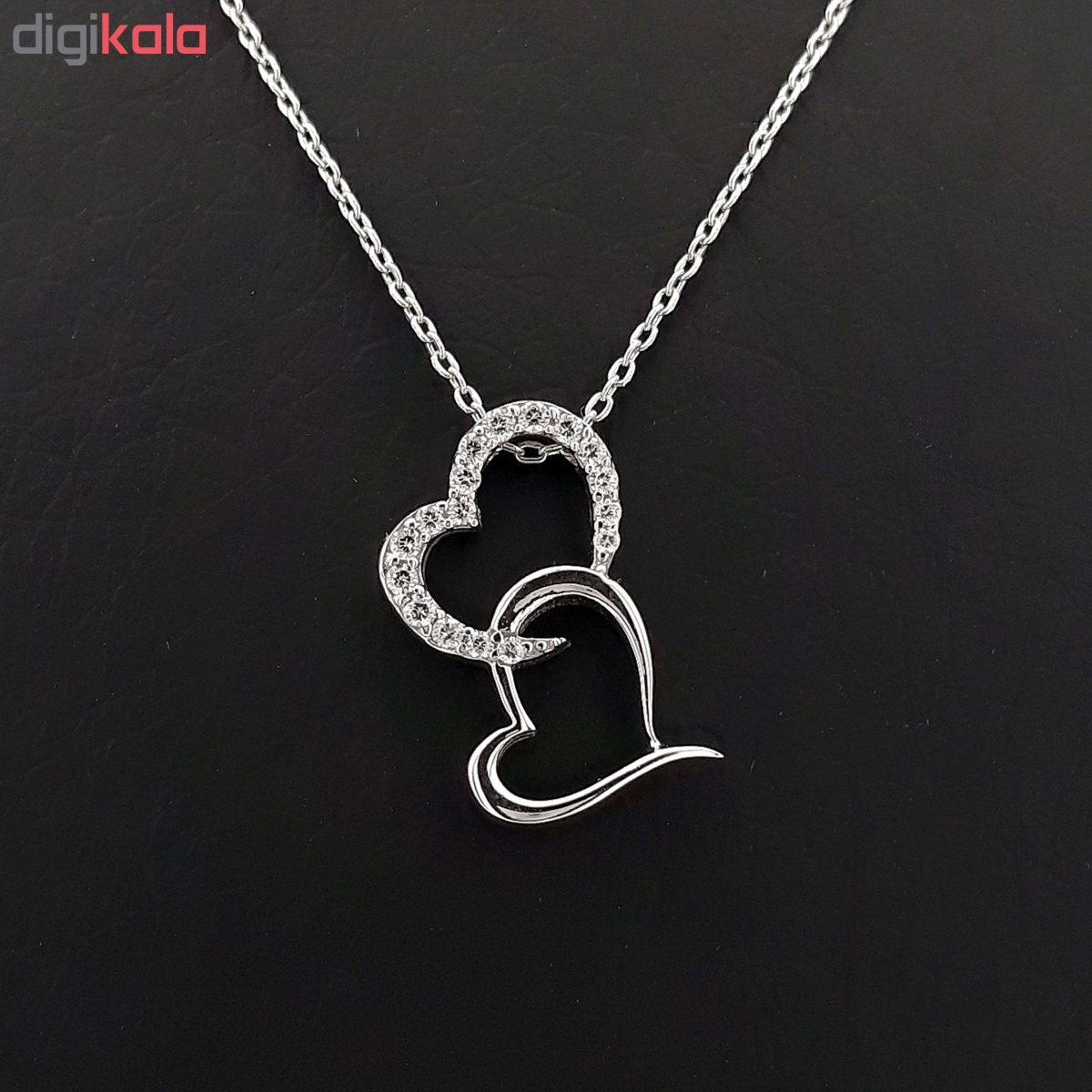 گردنبند نقره طرح قلب و عشق کد FL 162